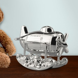 Silver Airplane Engraved Coin Bank