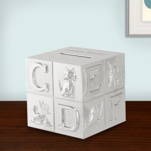 Silver ABC Baby Block Bank