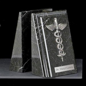Black Marble Medical Bookends with Antique Silver Caduceus