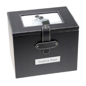 Black Leatherette Photo Album Box with White Stitching