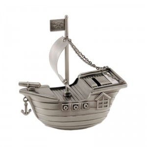 Pewter Pirate Ship Bank