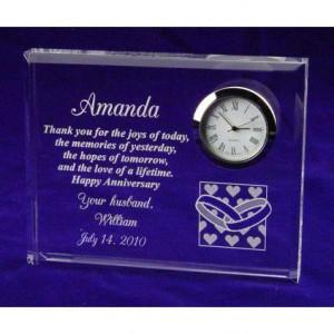 Hearts and Wedding Rings Anniversary Clock