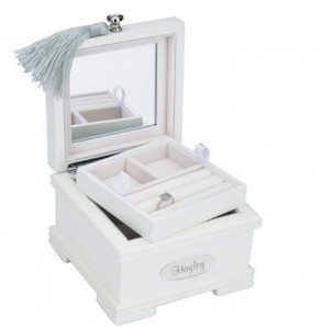 Personalized White Jewelry Chest