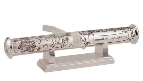 Personalized Silver Birth Certificate Holder with Stand