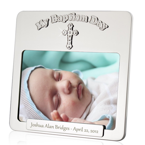 Baptism Picture Frame with Rhinestone Cross