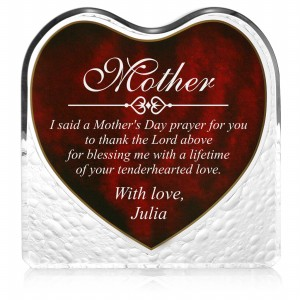 Engraved Red Heart Keepsake Plaque for Mom