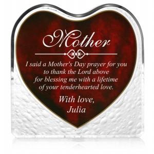 Engraved Red Heart Keepsake Plaque for Mom