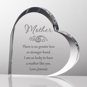 Customized Mother's Day Crystal Heart Plaque