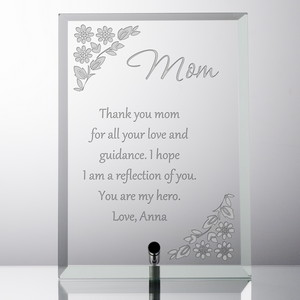 Personalized Glass Keepsake Plaque for Mom