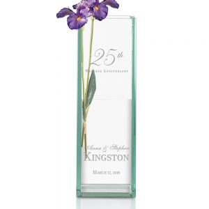 Engraved 25th Wedding Anniversary Tall Jade Glass Vase