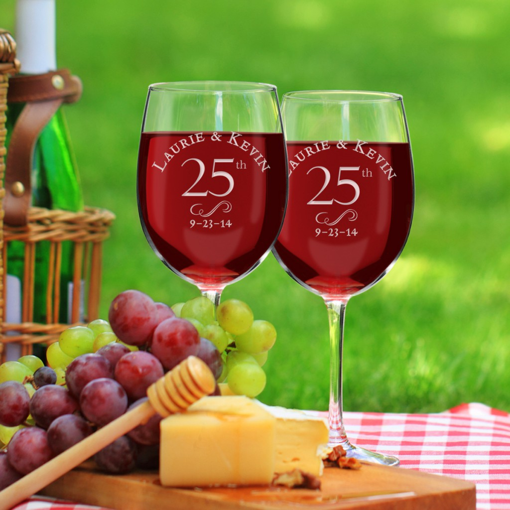 Personalized 25th Anniversary Gifts | Red Wine Glasses
