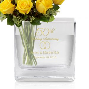 50th wedding anniversary gift engraved modern glass vase with gold accents