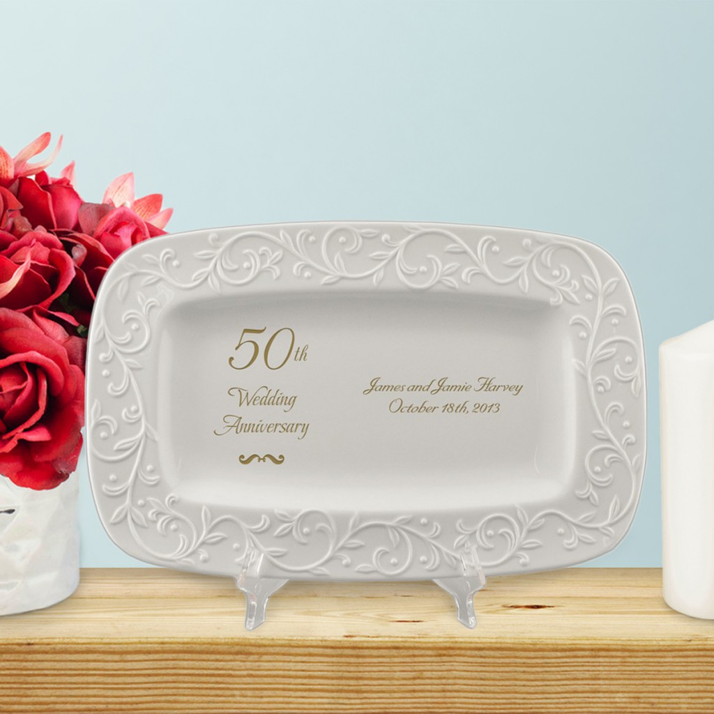 Personalized 50th Anniversary Gifts | Golden Lenox Carved Tray