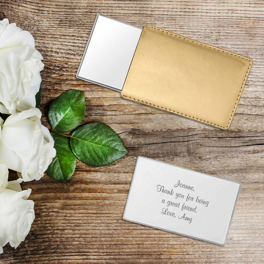 Personalized Bridesmaid Gifts | Gold Compact Mirror