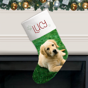 Paw Prints Personalized Photo Christmas Stocking for Pets-detail