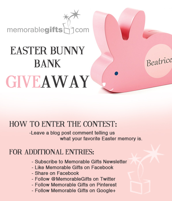 Easter Day Personalized Bunny Bank Giveaway - Memorable Gifts Blog