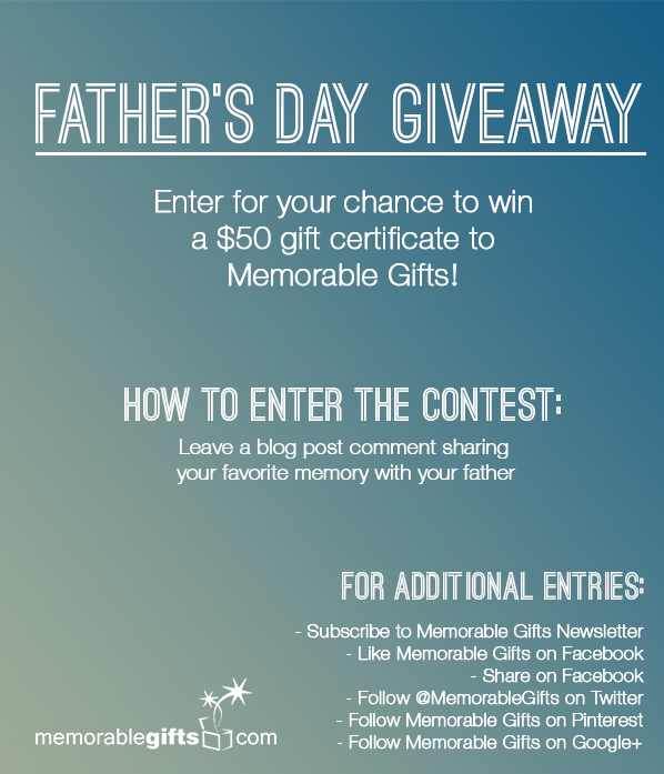 Father's Day Giveaway - Memorable Gifts Blog | Personalized