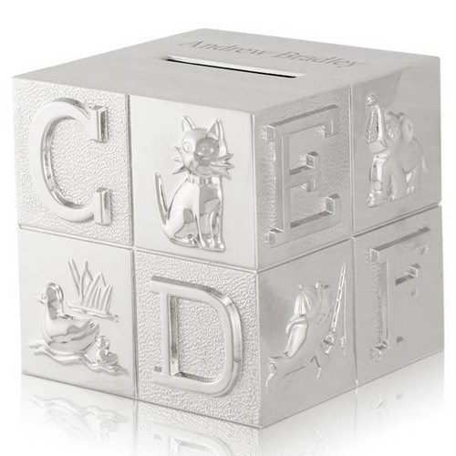 Silver ABC and Animal Baby Block Bank