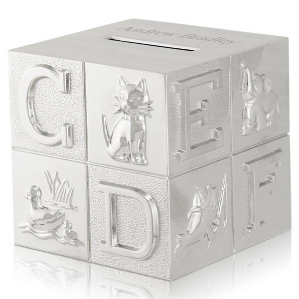 Silver Abc And Animal Baby Block Coin Bank Engraved Silver Plated