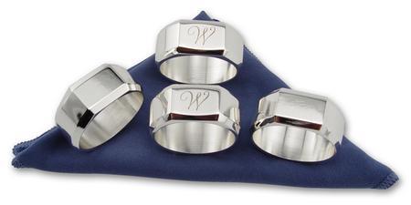 Round Silver Napkin Rings with Monogram