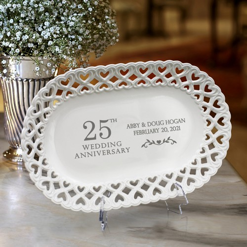 Chic Personalized 25th Anniversary Oval Porcelain Plate with Heart lace Rim