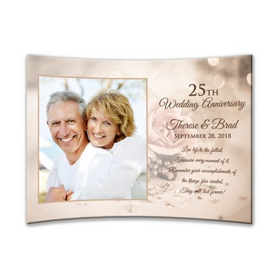 "Personalized 25th Anniversary Curved Acrylic 5"" X 7"" Photo Panel"