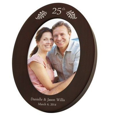25th Anniversary Personalized 5x7 Walnut Oval Frame