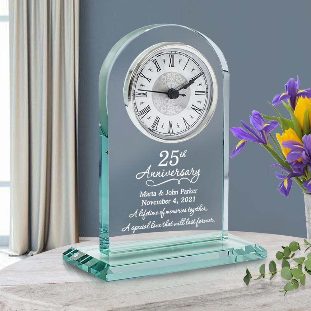 25th Anniversary Personalized Glass Clock