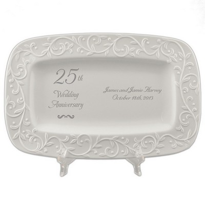25th Wedding Anniversary Carved Tray