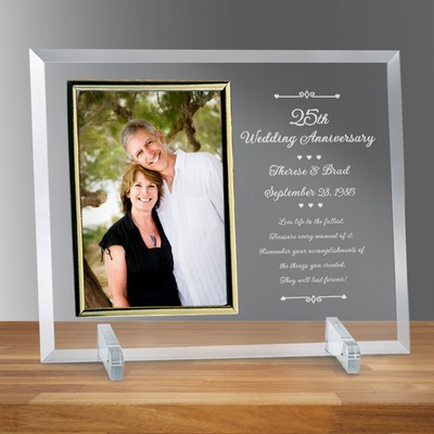 "Personalized 25th Wedding Anniversary Glass Vertical 8"" X 10"" Photo frame"