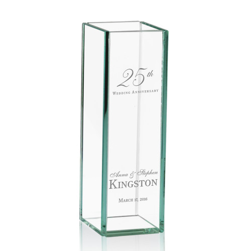 25th Wedding Anniversary Engraved Tall Glass Vase