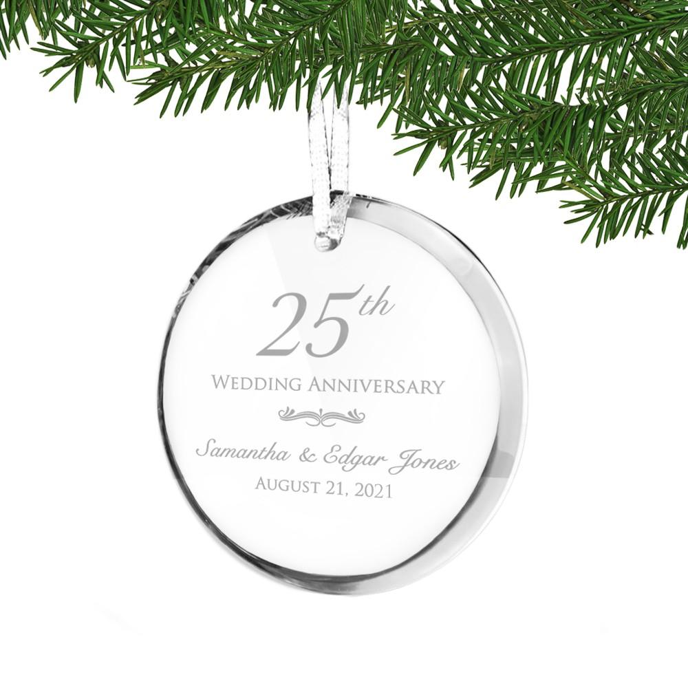 25th wedding anniversary christmas ornament - 25th Wedding Anniversary Personalized Acrylic Ornament