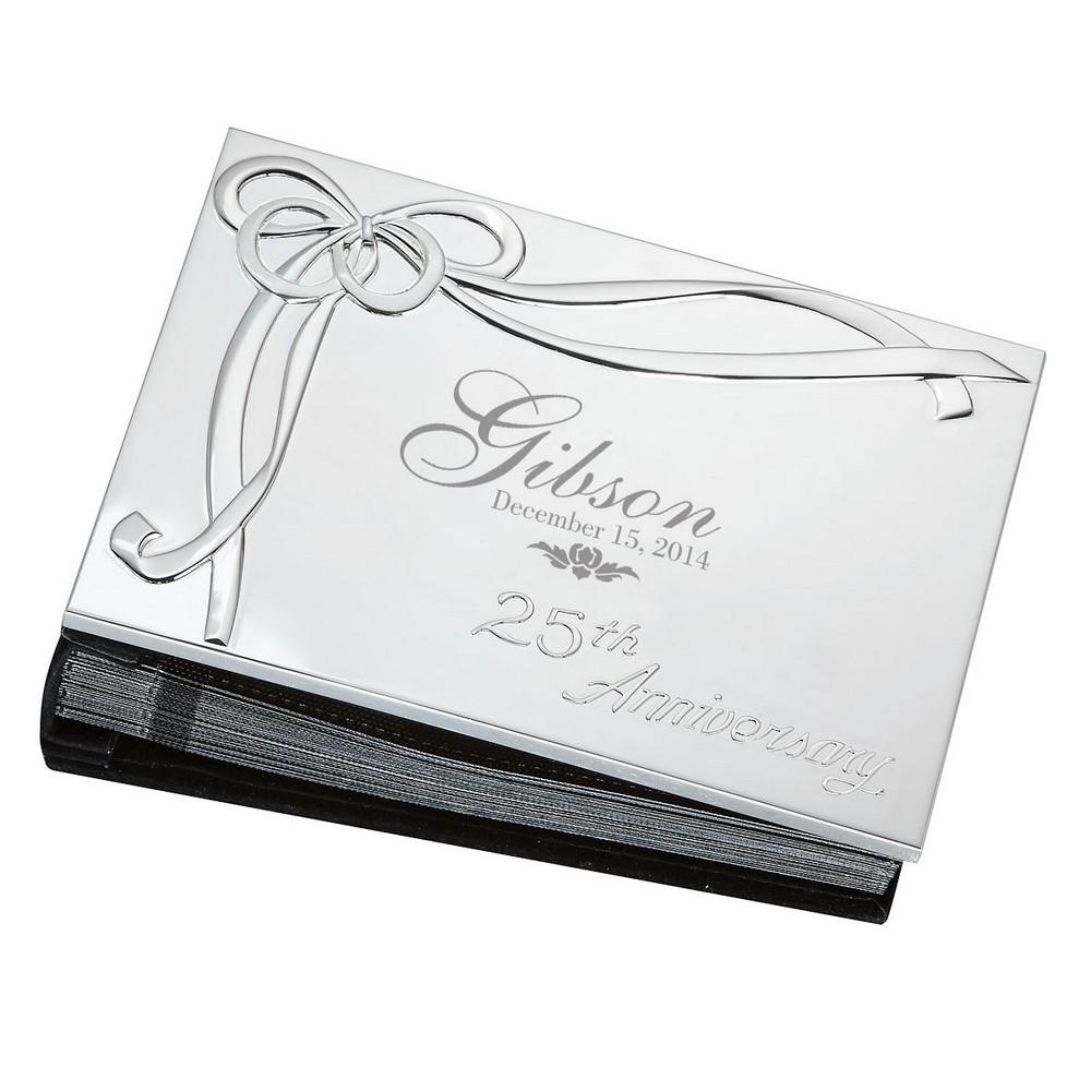 25th wedding anniversary christmas ornament - 25th Wedding Anniversary Personalized Lenox Silver Plated 4x6 Photo Album
