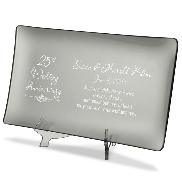 25th Wedding Anniversary Personalized Silver Gl Tray