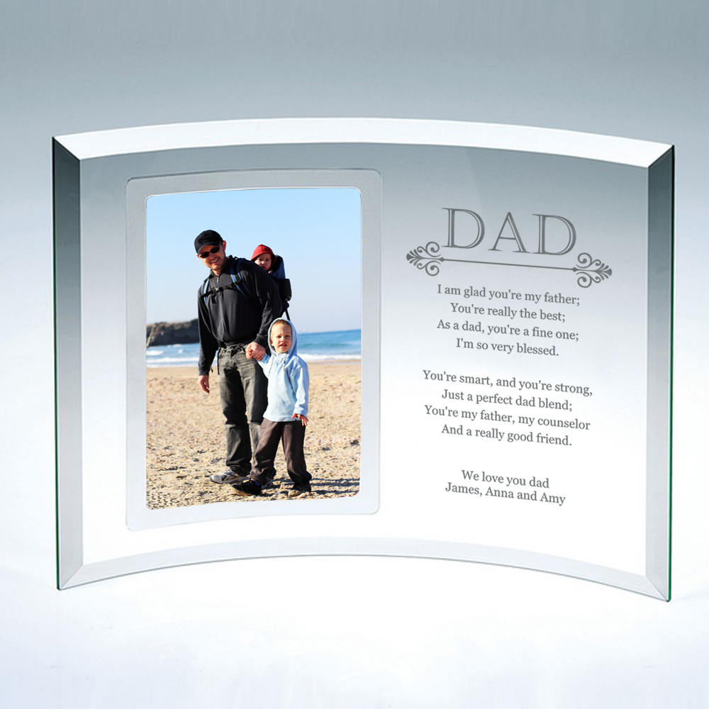 Personalized Gifts: 4x6 Curved Glass Personalized Picture Frame For Dad