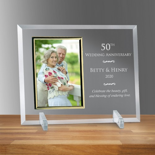 "Personalized 50th Wedding Anniversary 5"" X 7"" Glass Photo Frame"