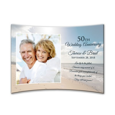 "Personalized 50th Anniversary Curved 5""x 7"" Acrylic Photo Panel"