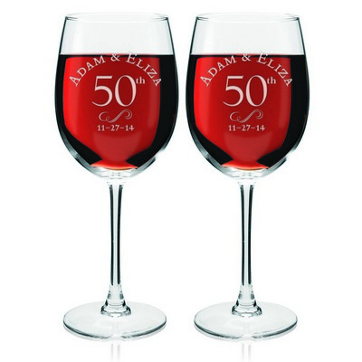 50th Anniversary Personalized Wine Glass