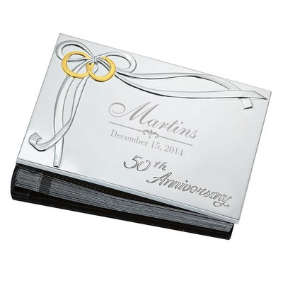 50th Anniversary Golden Rings Silver Plated 4x6 Photo Album