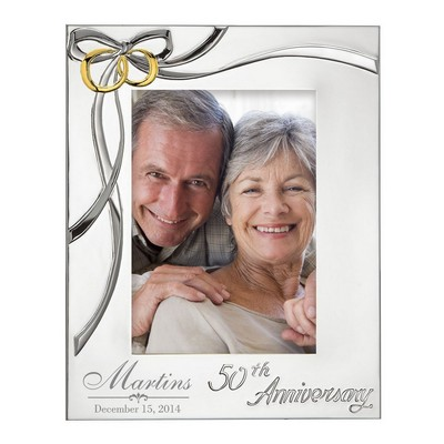 50th Anniversary Golden Rings Silver Plated 5x7 Picture Frame