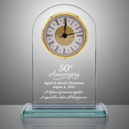 50th anniversary personalized glass clock. Black Bedroom Furniture Sets. Home Design Ideas