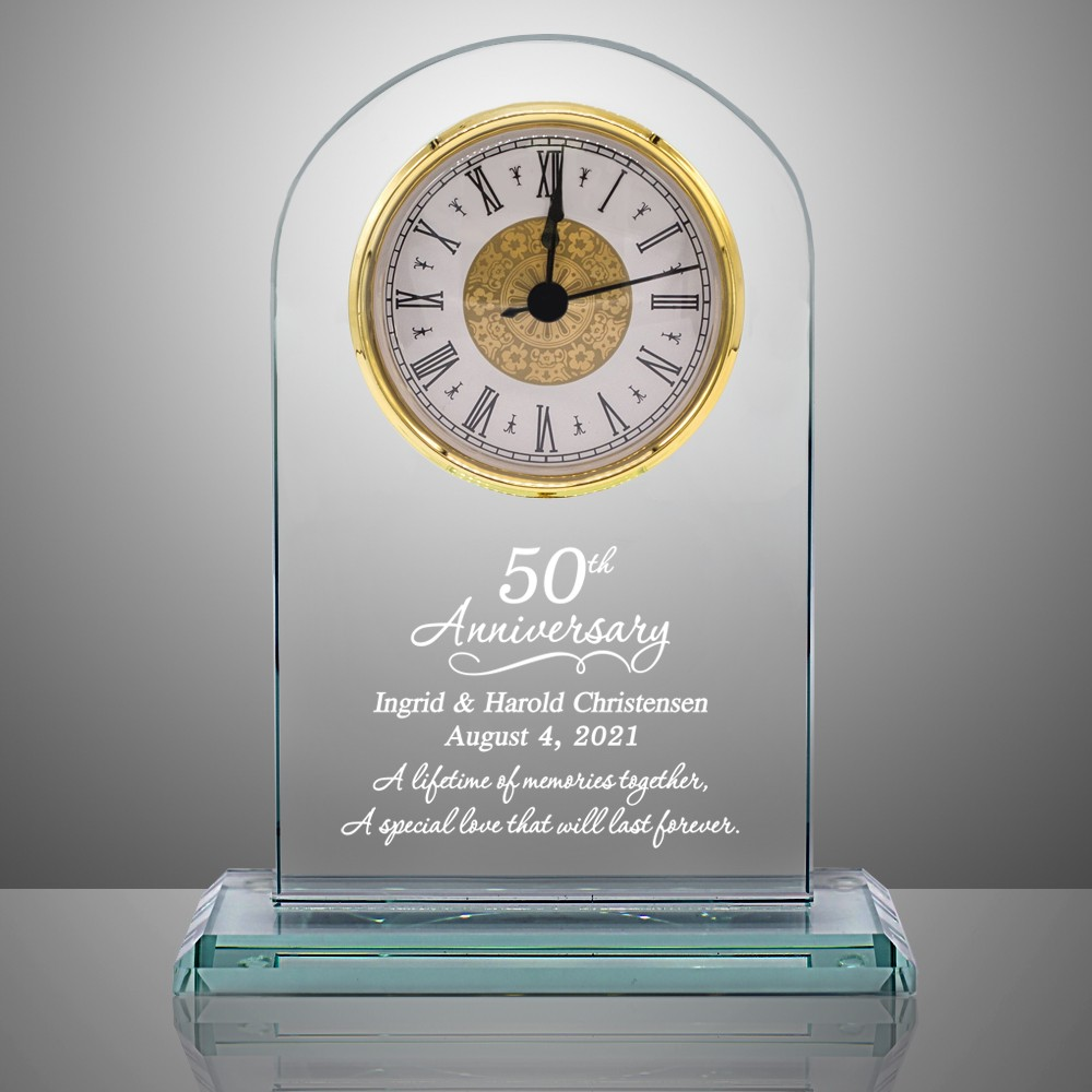 sc 1 st  Memorable Gifts & 50th Anniversary Personalized Glass Clock