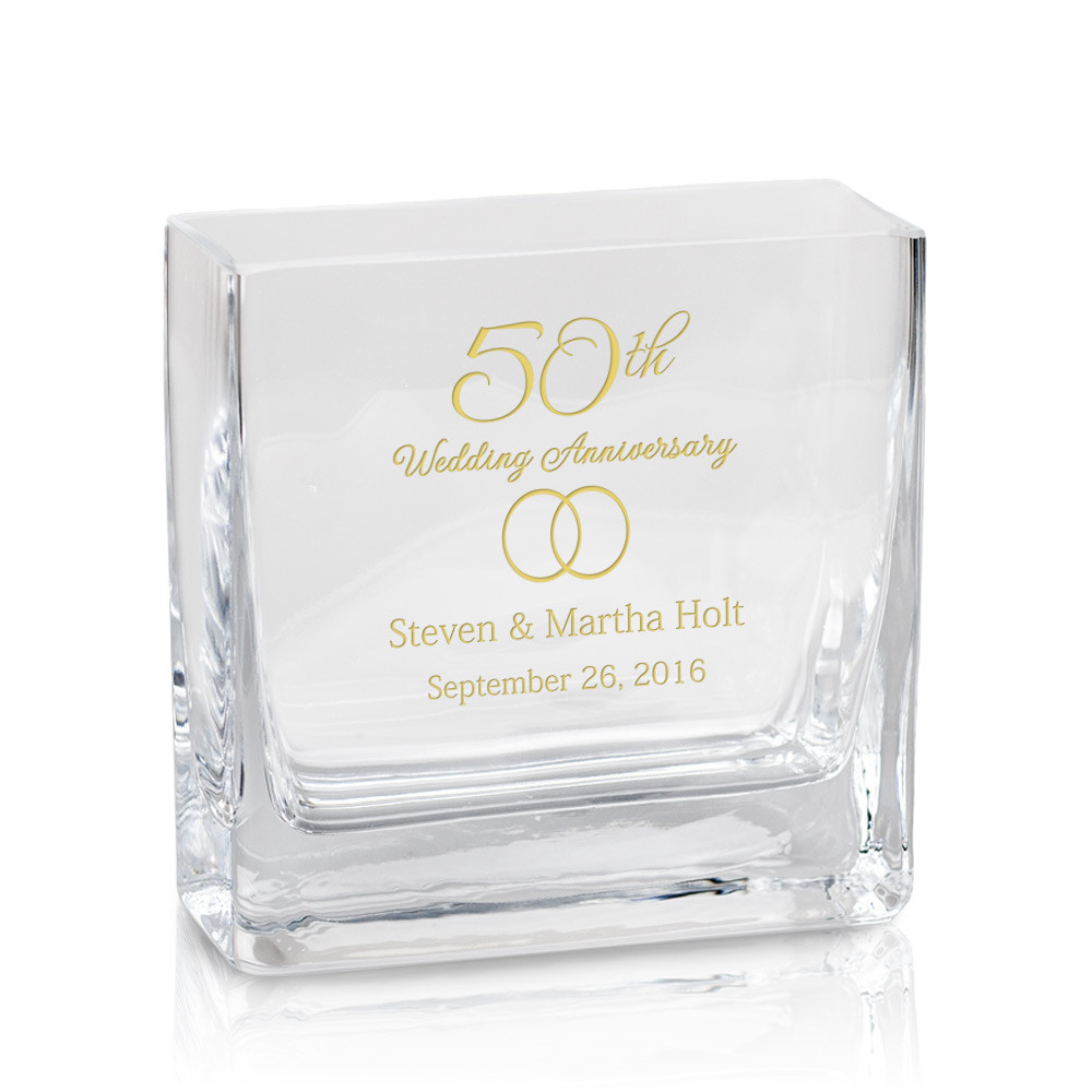 50th Anniversary Personalized Modern Glass Vase