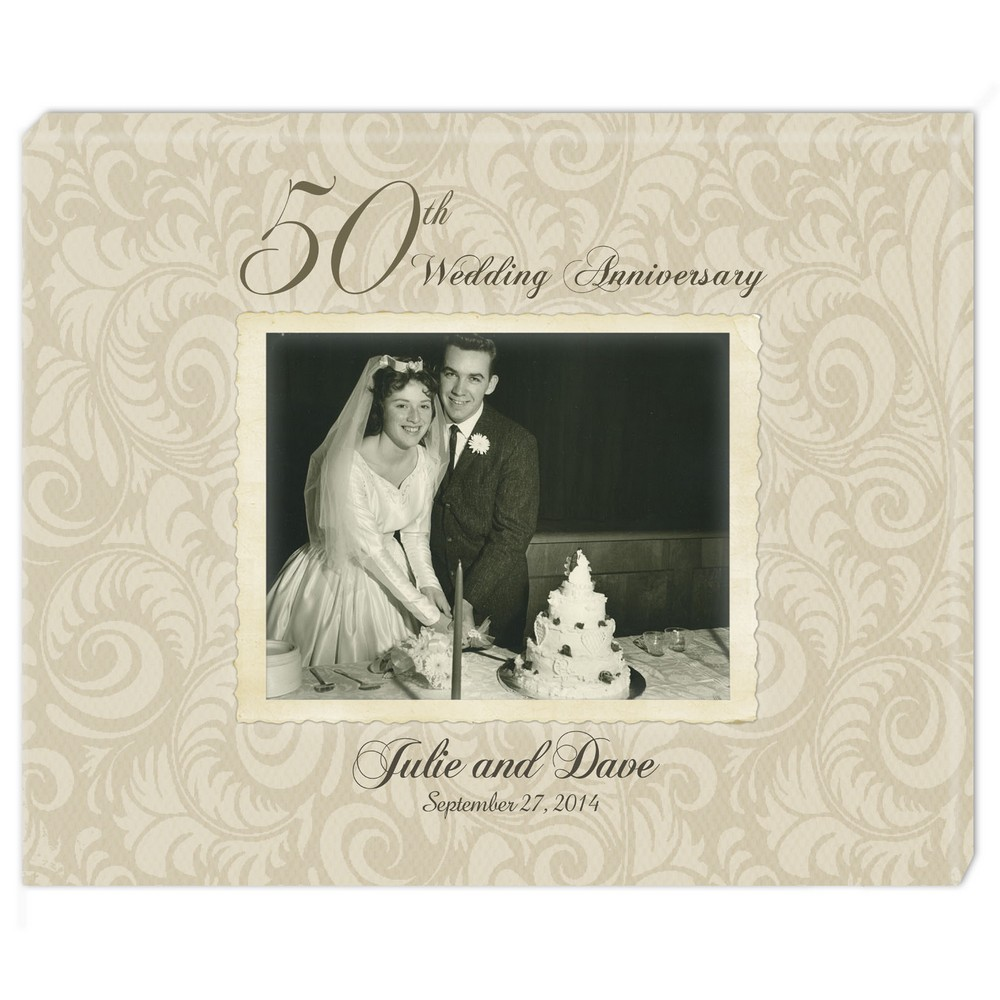 50th Golden Anniversary Personalized Photo Wall Canvas