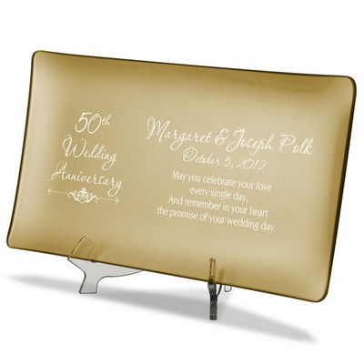 50th Wedding Anniversary Personalized Gold Glass Tray