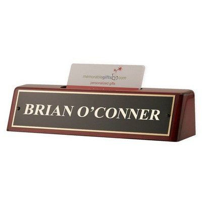 Personalized Piano Finish Nameplate with Card Holder