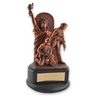 Army Soldiers with Statue of Liberty Resin Figure with Bronze Finishing