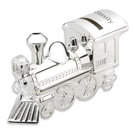 Personalized Silver Train Bank for Baby