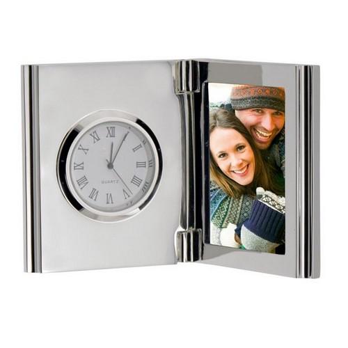 Silver Monogram Quartz Clock with Photo Frame