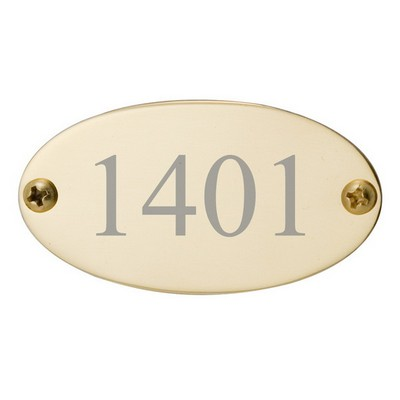 Brass Door Plate Oval 1-3/8 x 2-9/16